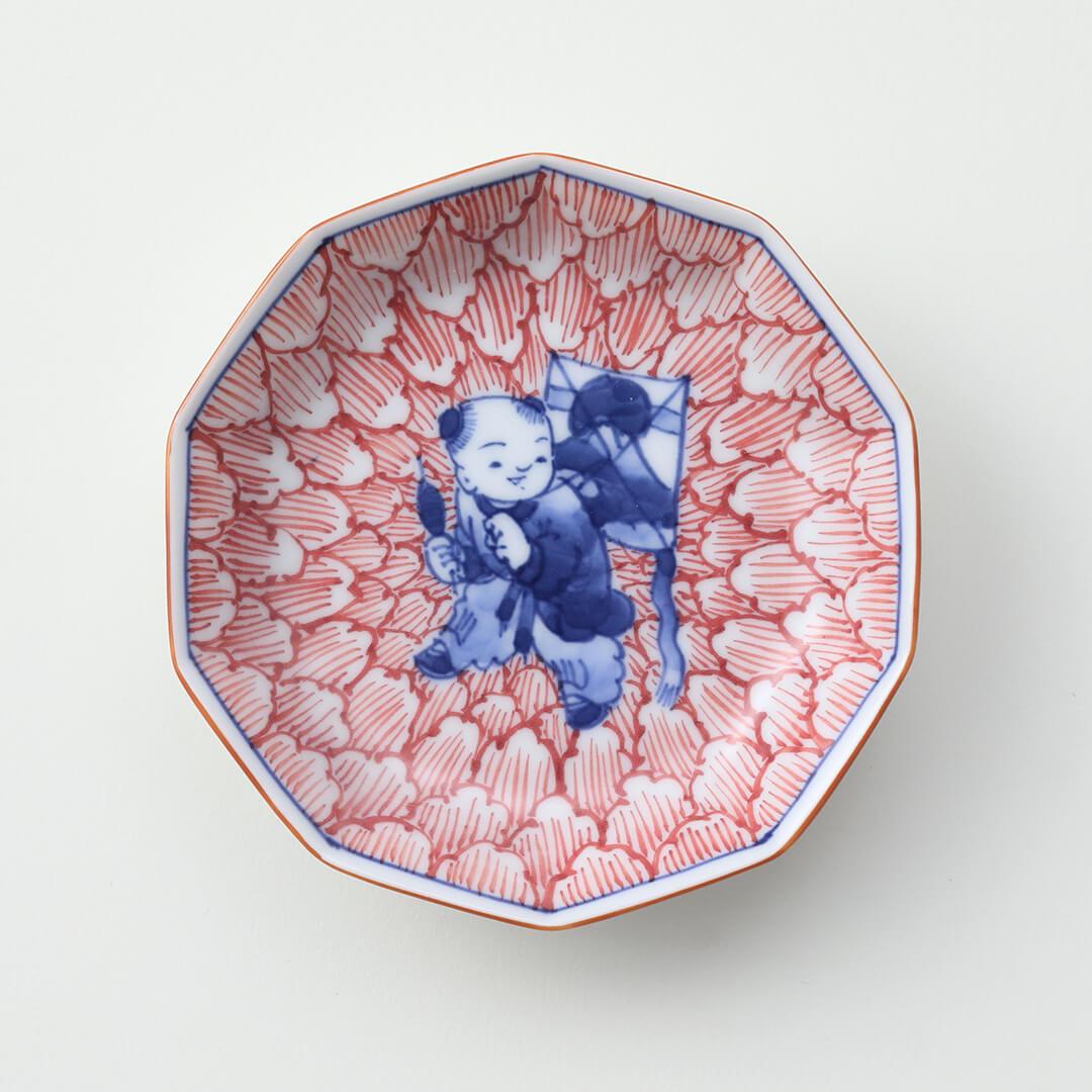 染付牡丹 凧と唐子絵豆皿