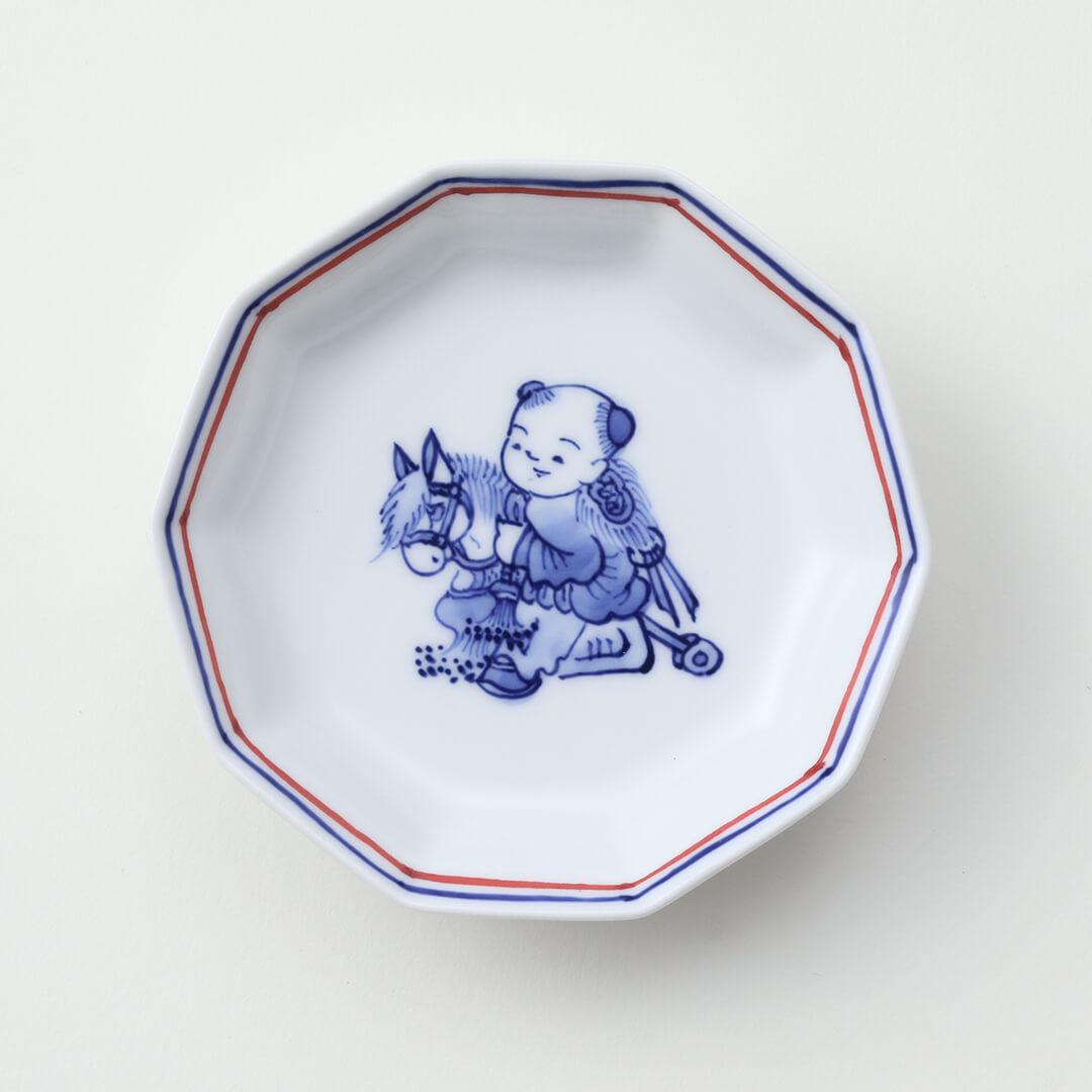染付 馬と唐子絵豆皿