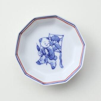 染付 凧と唐子絵豆皿