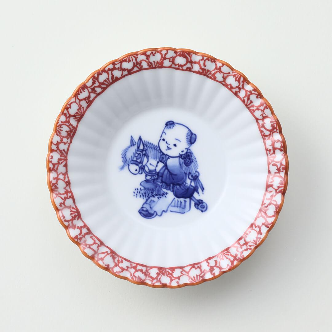 渕赤桜 馬と唐子絵豆皿