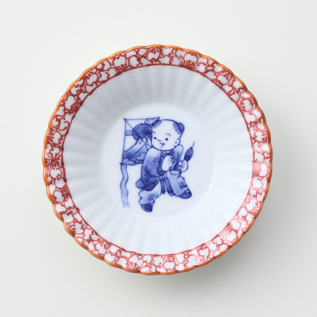 渕赤桜 凧と唐子絵豆皿