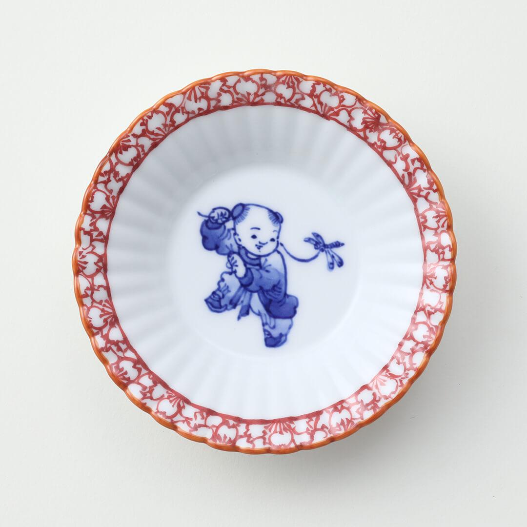 渕赤桜 蜻蛉と唐子絵豆皿