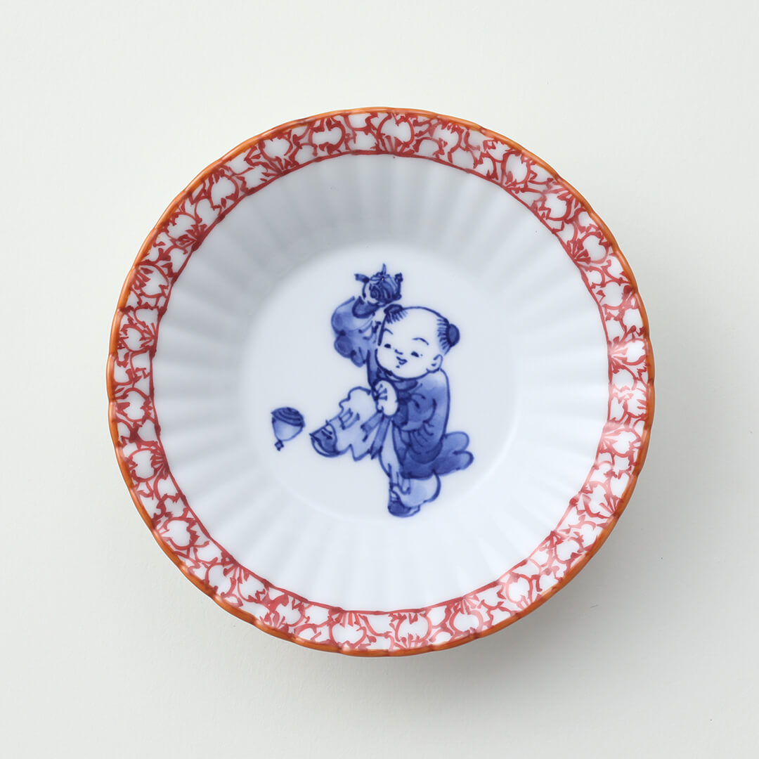 渕赤桜 独楽と唐子絵豆皿