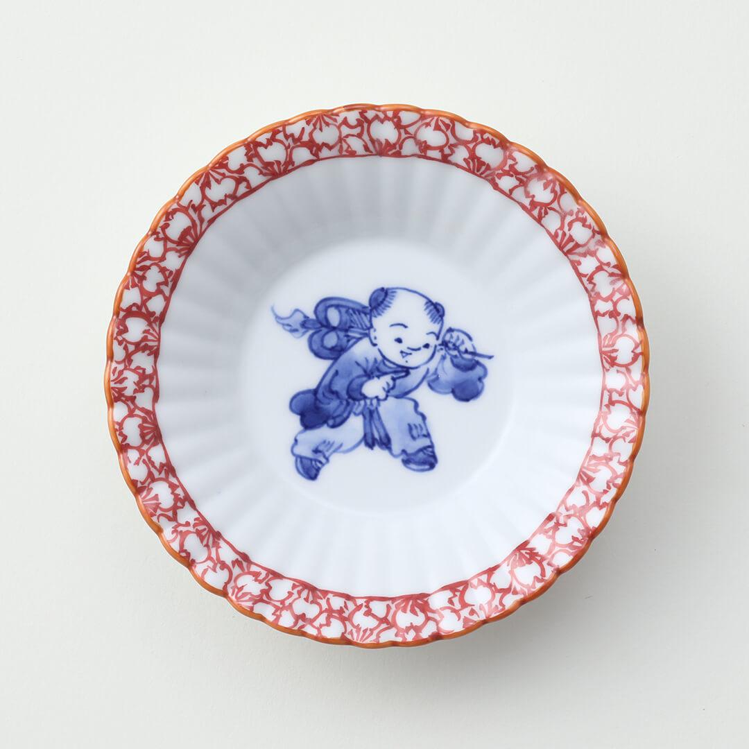 渕赤桜 扇と唐子絵豆皿