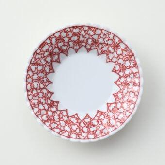 下絵赤桜絵豆皿