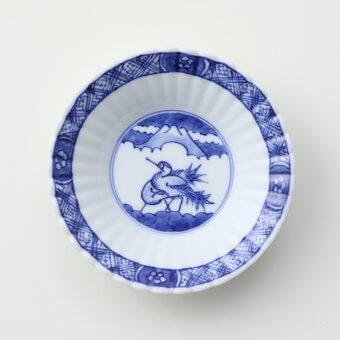 染付渕地文鶴絵豆皿