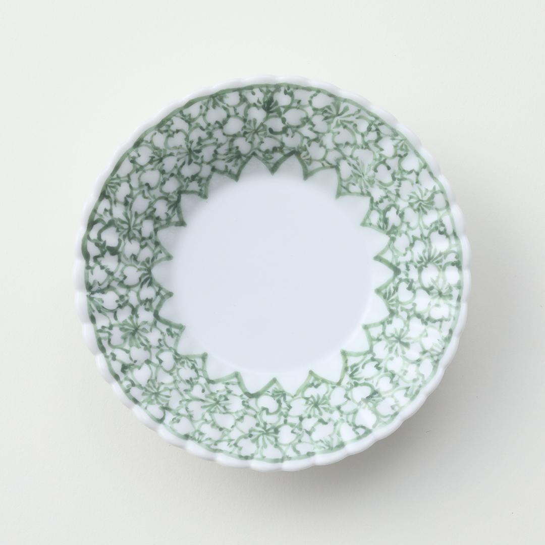 下絵緑彩桜絵豆皿