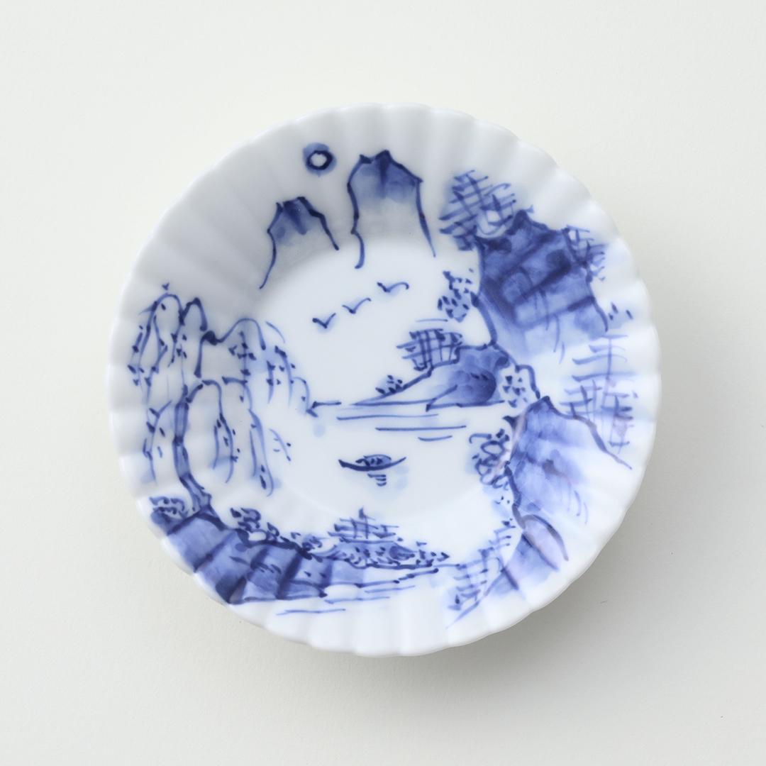染付山水絵豆皿