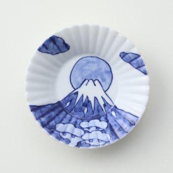 染付松に冨士絵豆皿