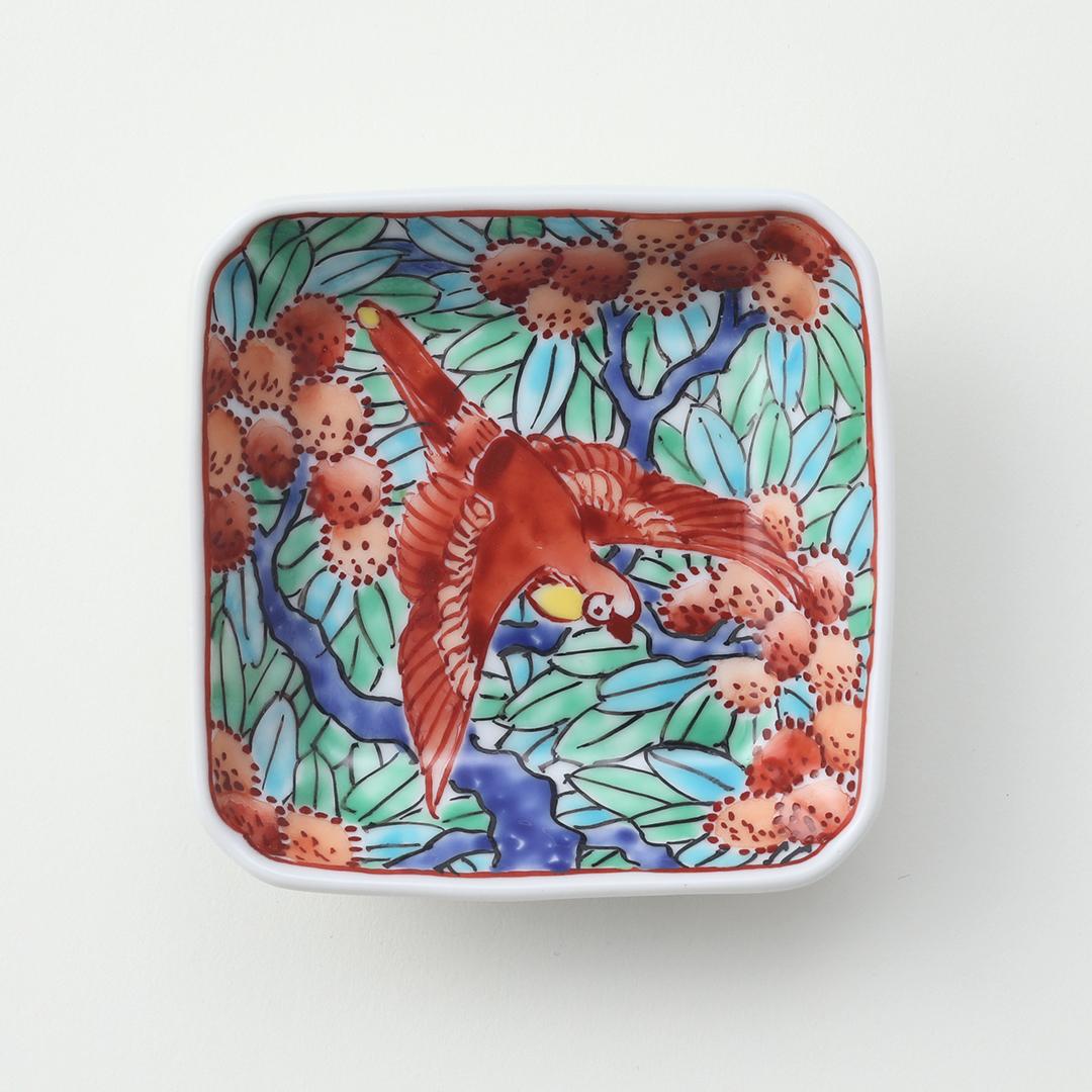 赤絵花鳥絵豆皿