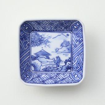 染付渕地文山水絵豆皿