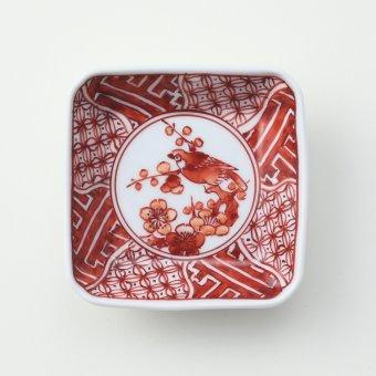 赤絵地文花鳥絵豆皿