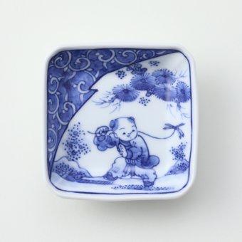 染付濃唐草 蜻蛉と唐子絵豆皿