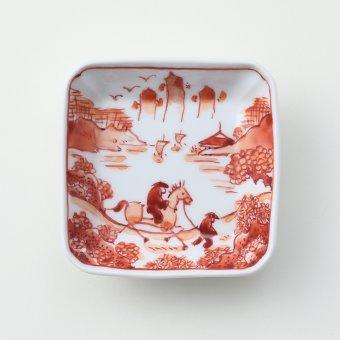 赤絵山水絵豆皿