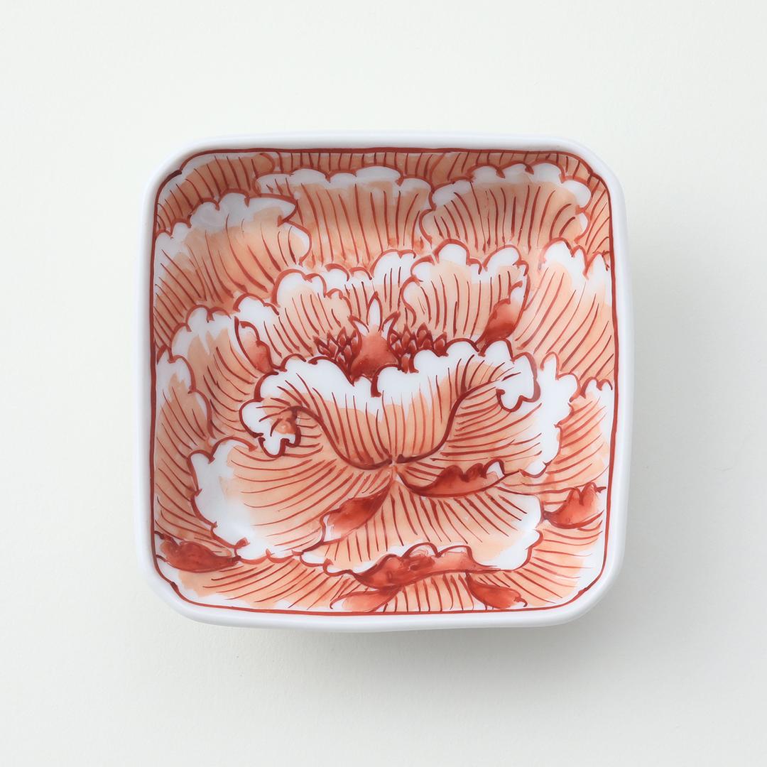 赤絵牡丹絵豆皿