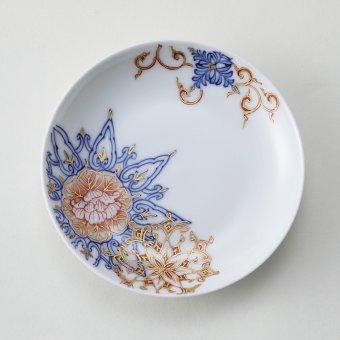 染付金彩花紋豆皿