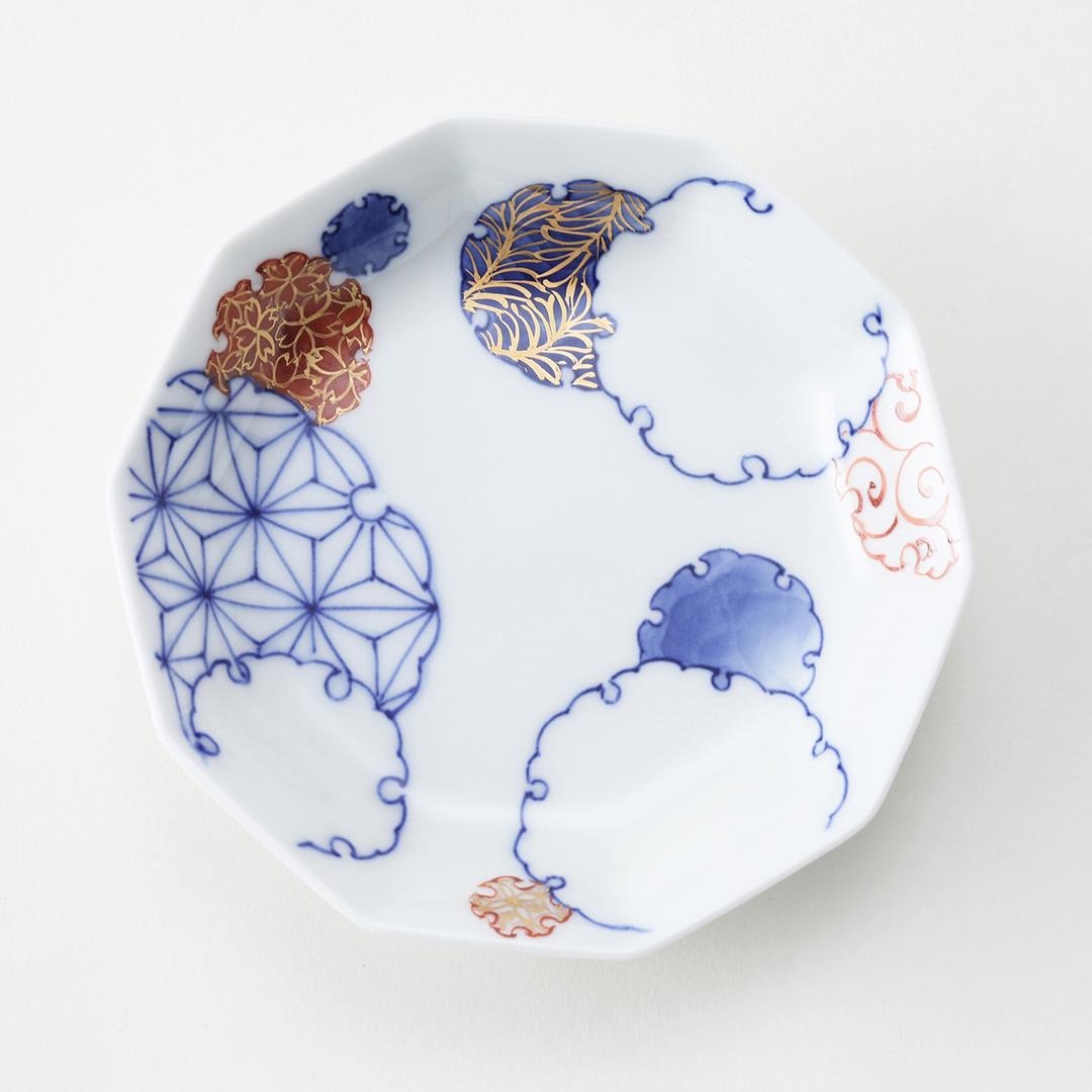 染付金彩雪輪紋豆皿