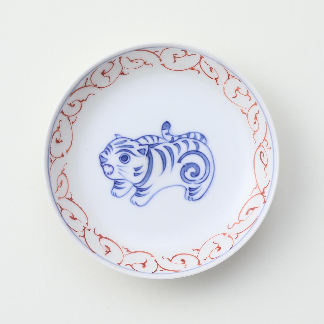 赤絵唐草 干支 <トラ>豆皿