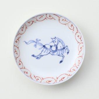赤絵唐草 干支 <午>豆皿