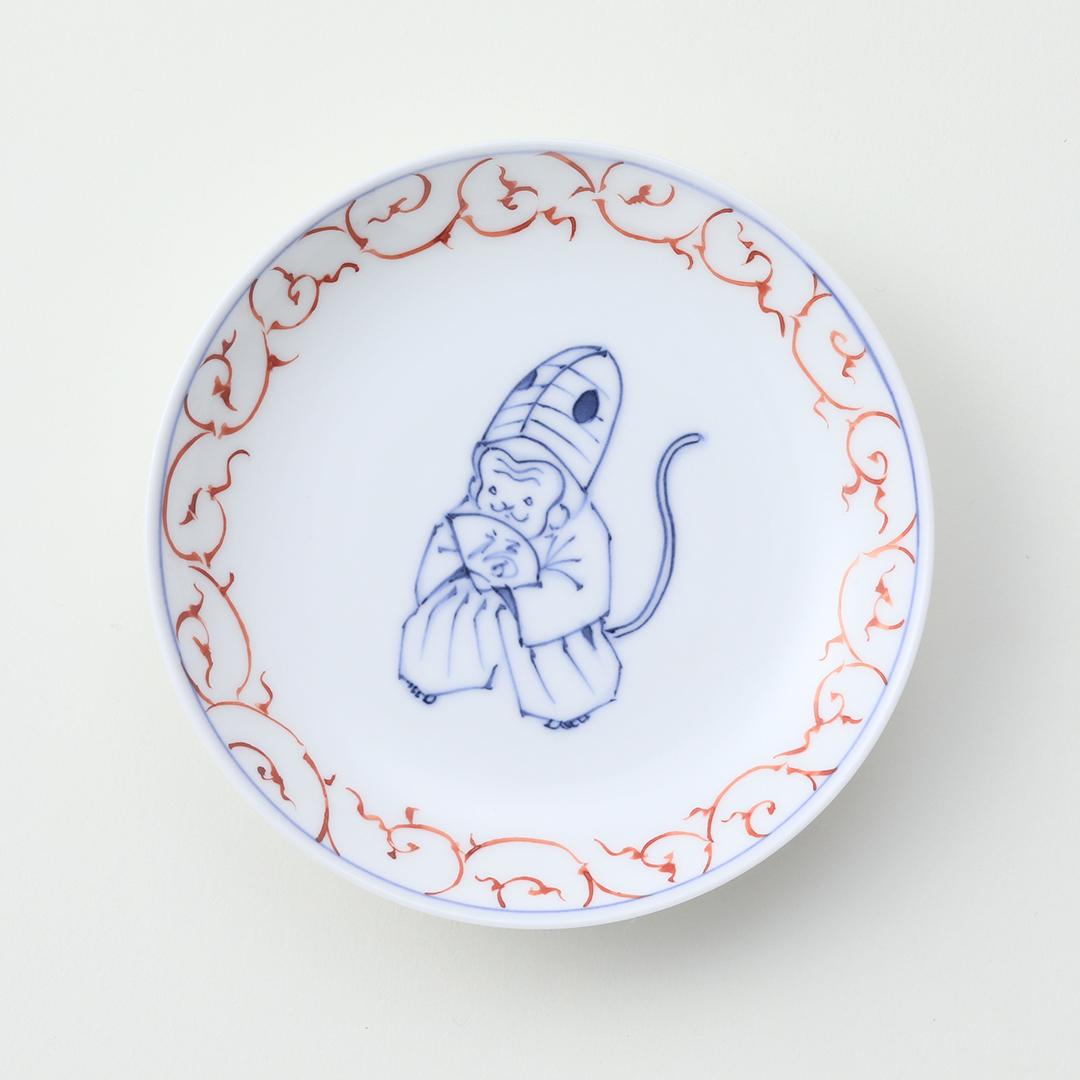 赤絵唐草 干支 <猿>豆皿