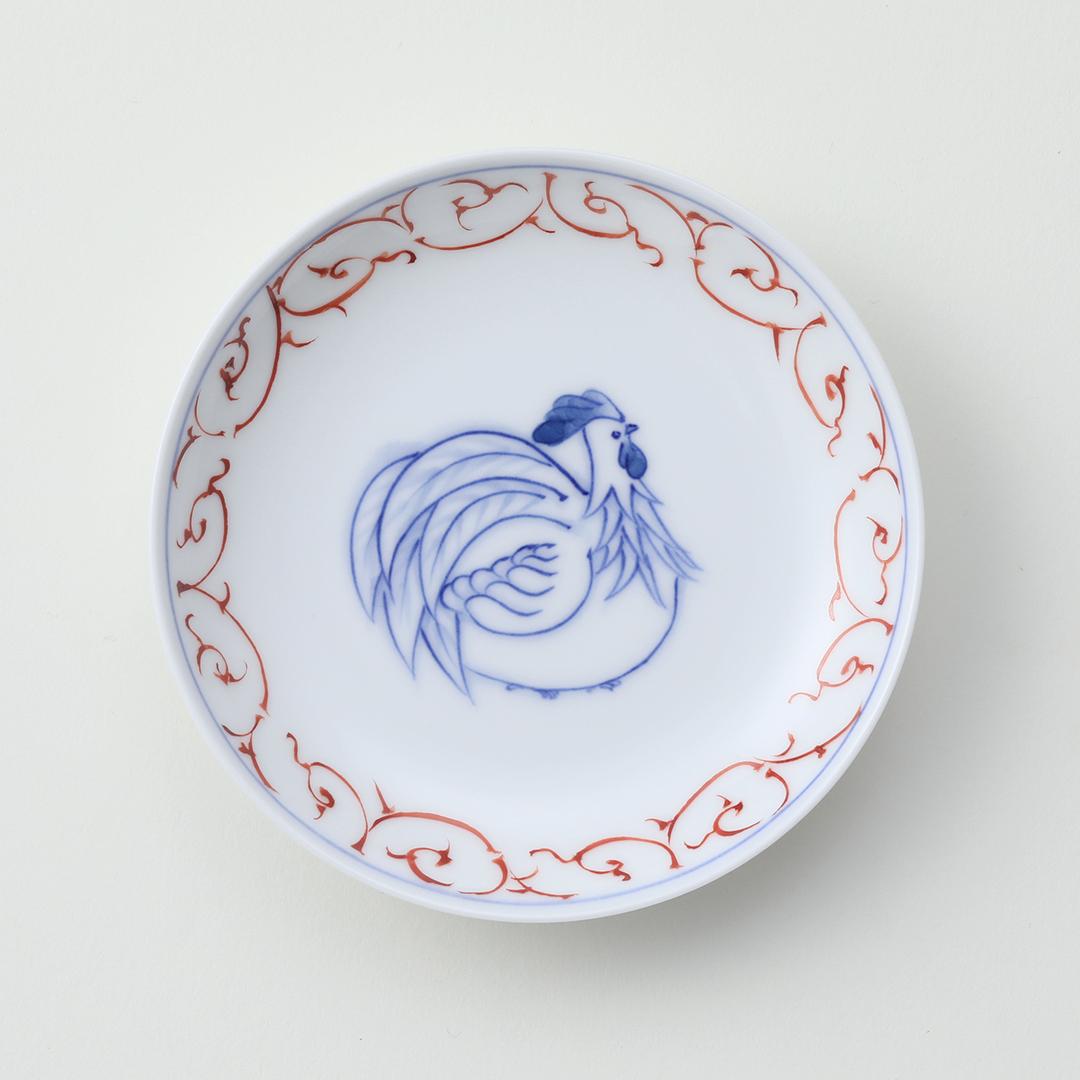 赤絵唐草 干支 <鳥>豆皿
