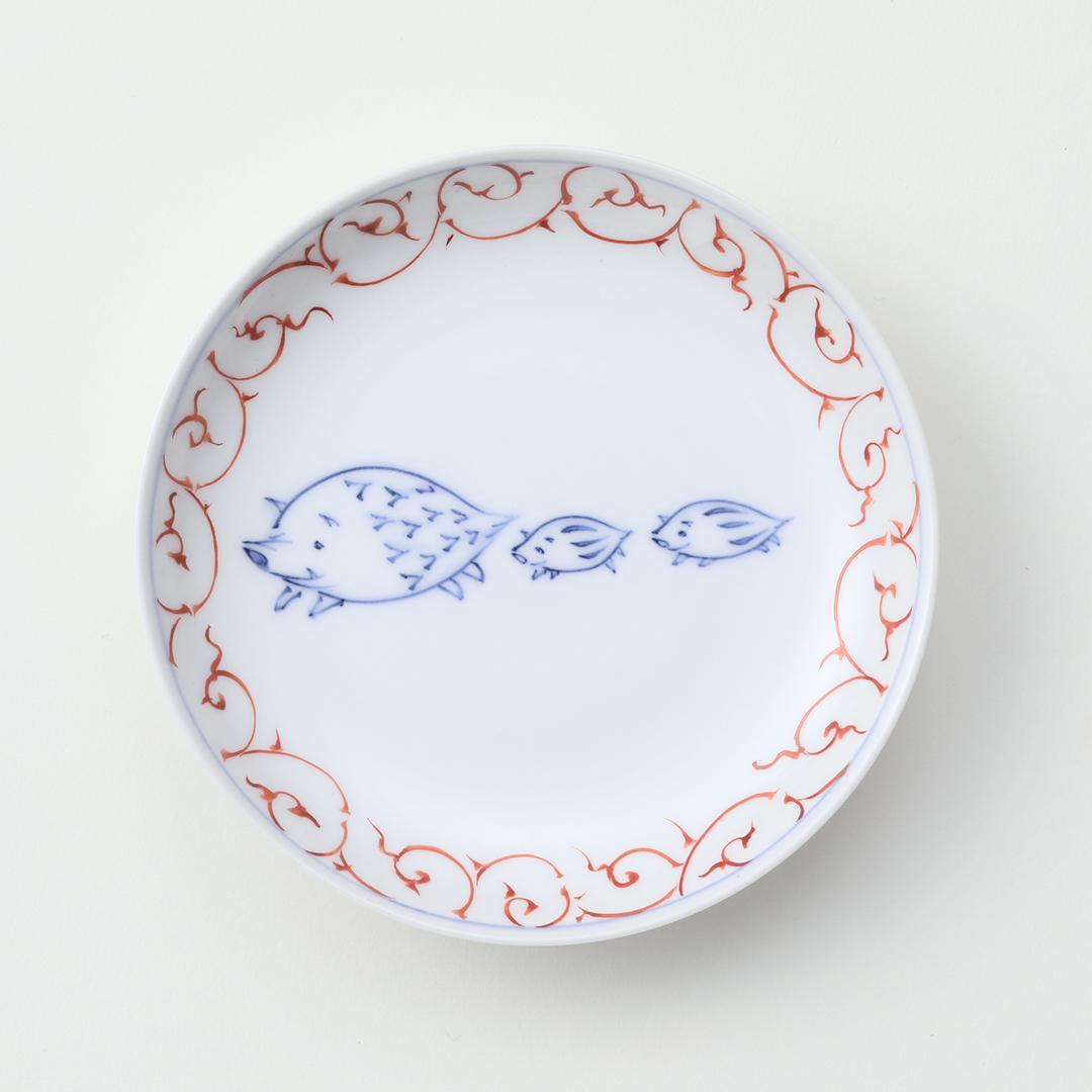 赤絵唐草 干支 <イノシシ>豆皿