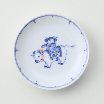 色絵 干支 牛豆皿
