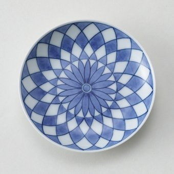 格子絵豆皿