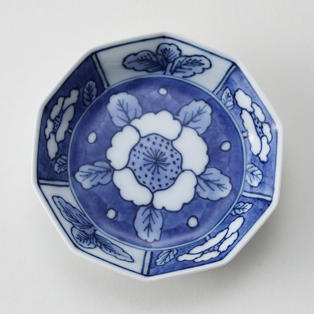 花柄見込割絵豆皿