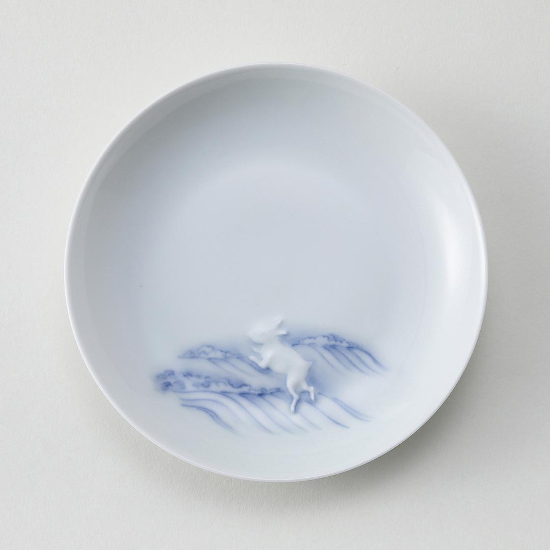 平戸置上 波兎文豆皿
