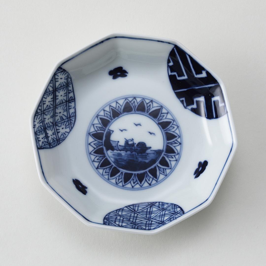 丸紋山水絵豆皿