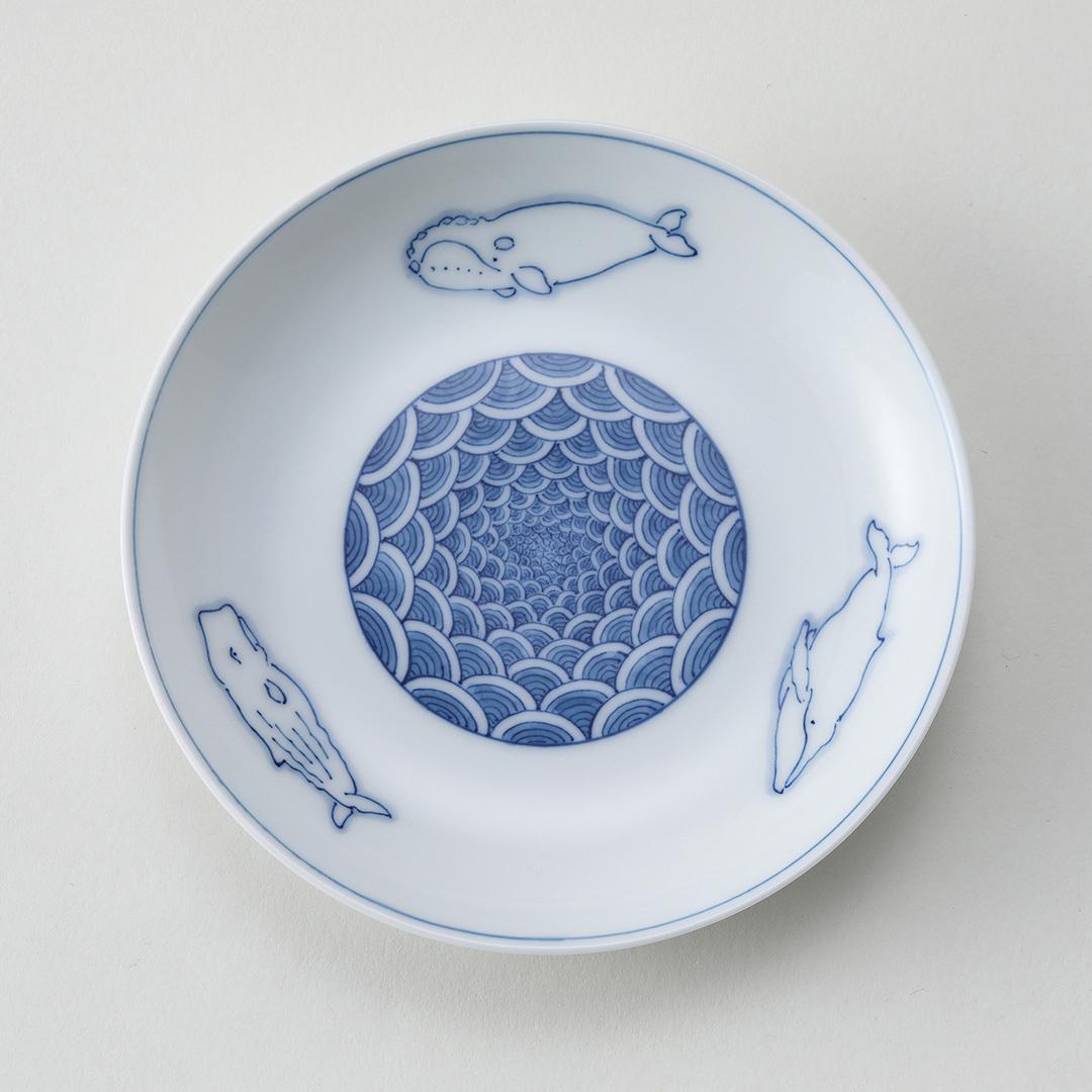 丸紋青海波 三頭鯨豆皿