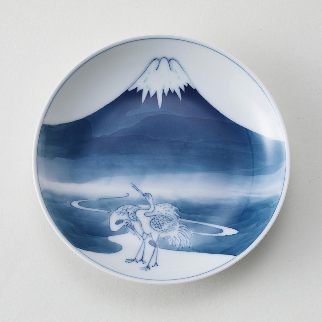 富士に鶴豆皿