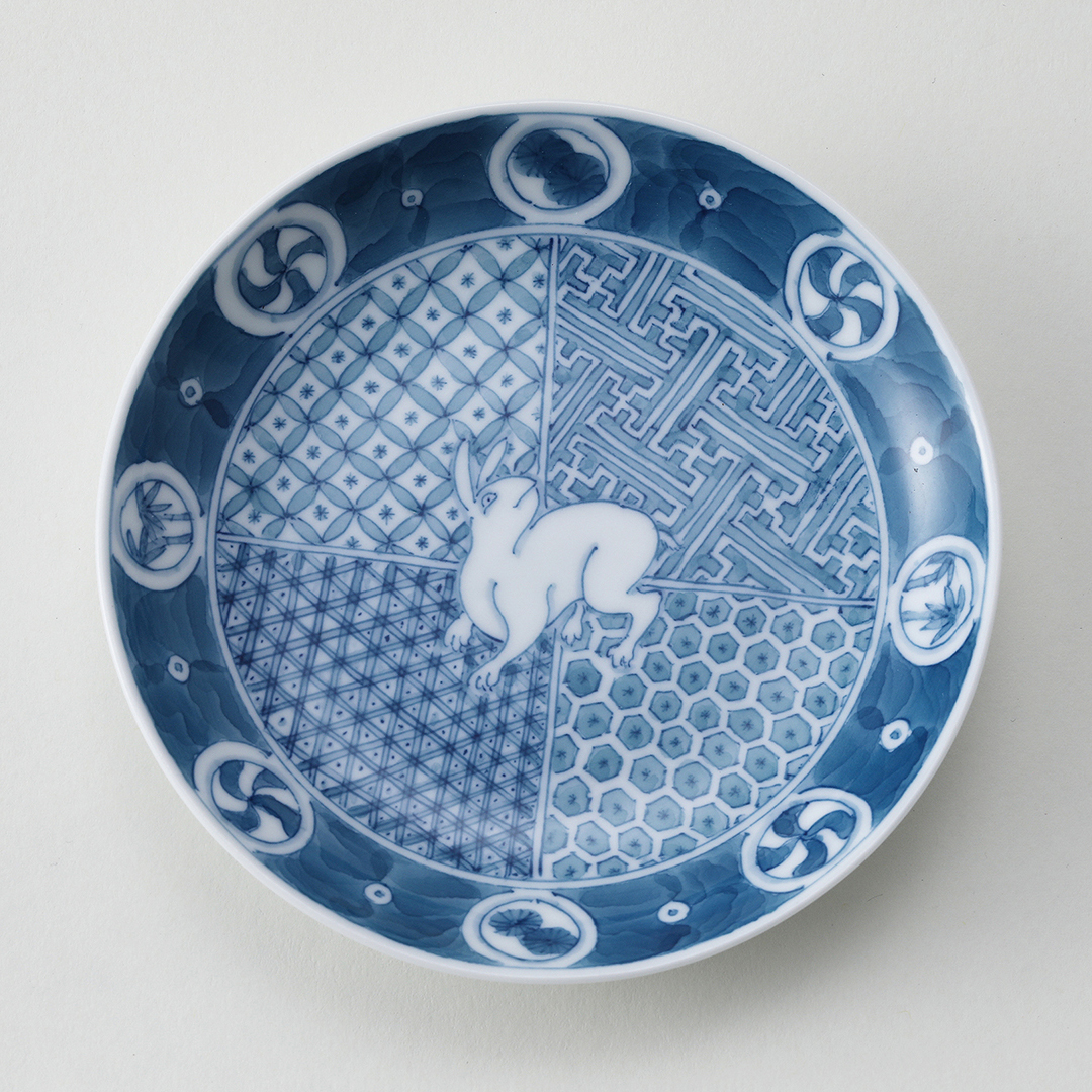 うさぎ地紋豆皿