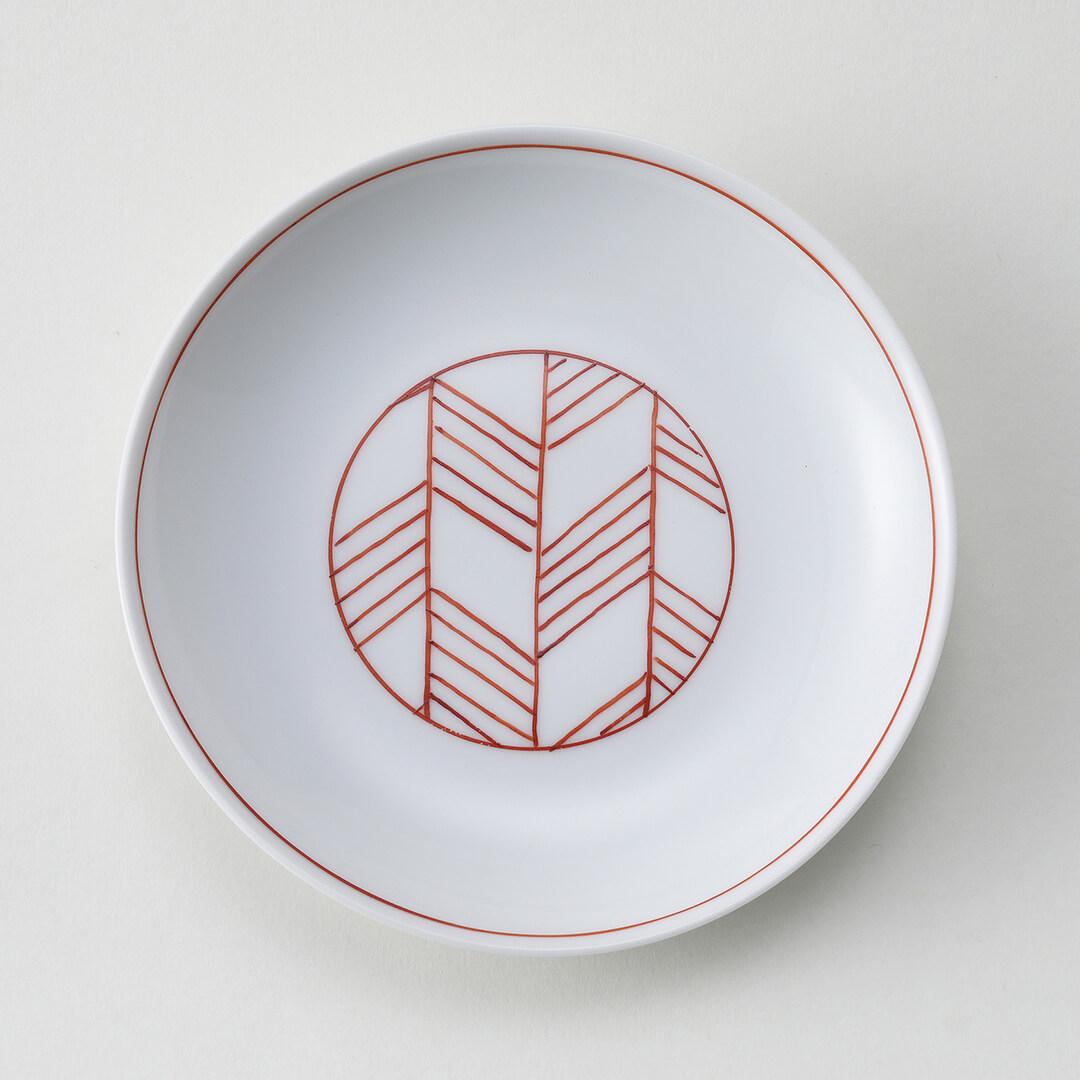 太白赤根引松豆皿