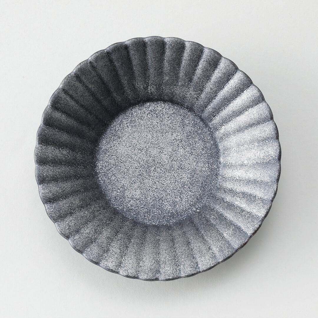 銀錆プラチナ叩き豆皿