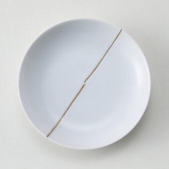 金一本ライン豆皿