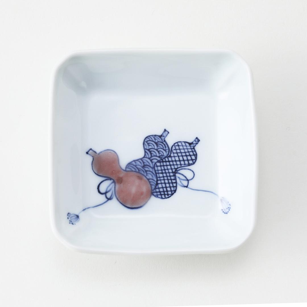 釉裏紅 ひさご絵豆皿