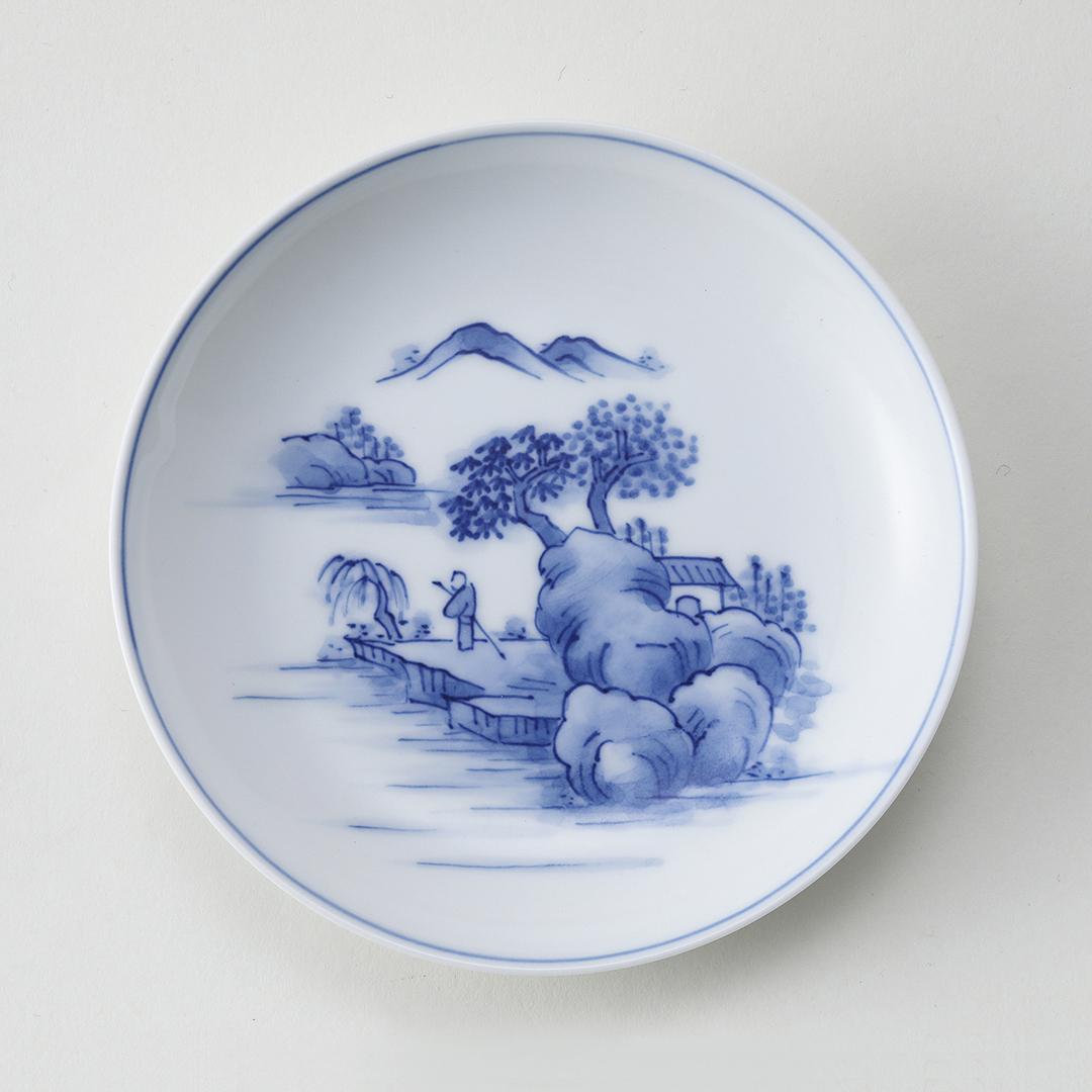 三川内山水絵豆皿