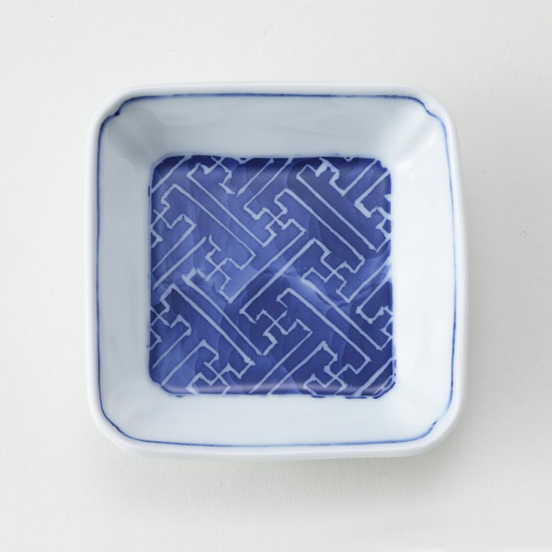 墨はじき 幾何紋豆皿