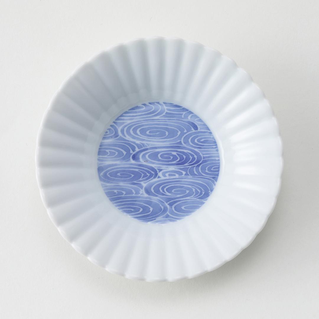 墨はじき 流水紋豆皿