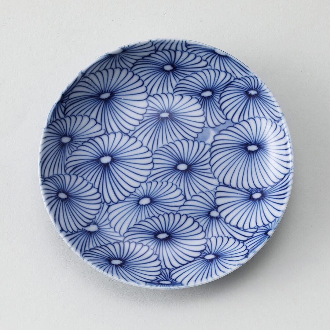 菊と月豆皿