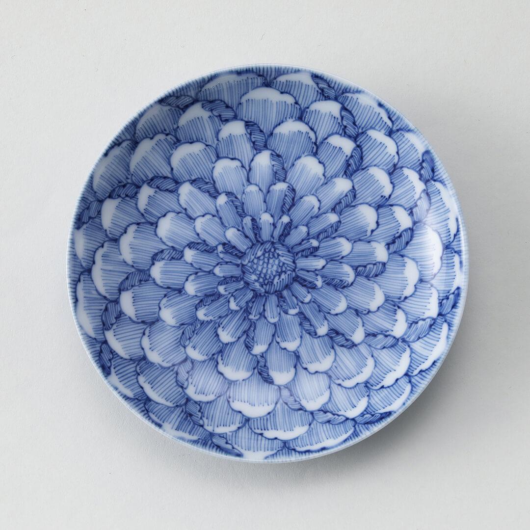 牡丹と蝶豆皿