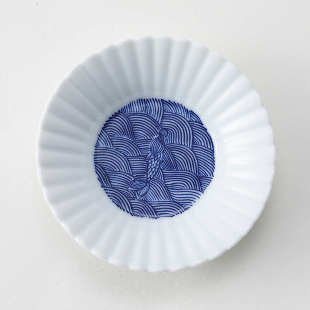 波と人魚豆皿