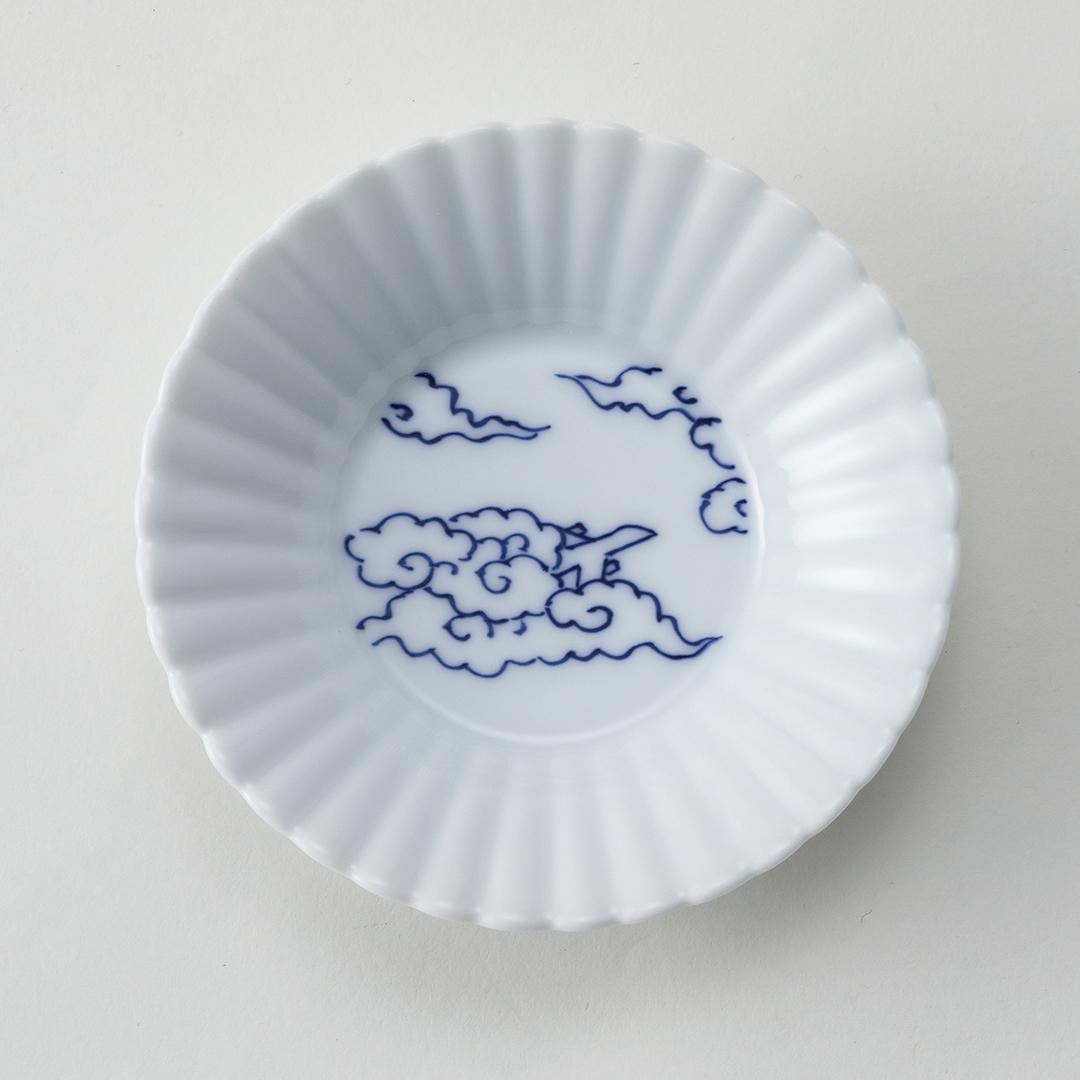 飛行機と雲豆皿