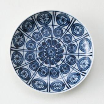 格子濃丸紋豆皿
