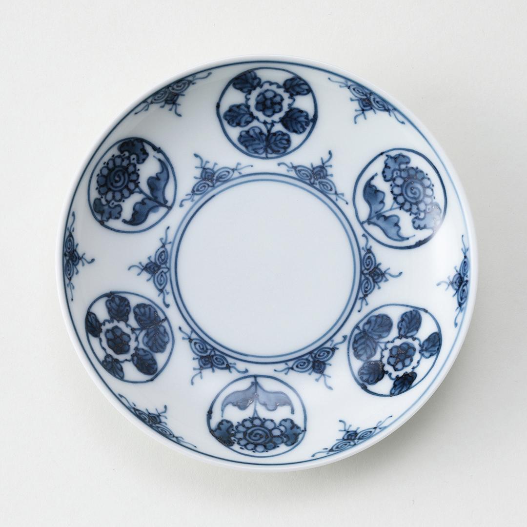 丸紋花絵豆皿